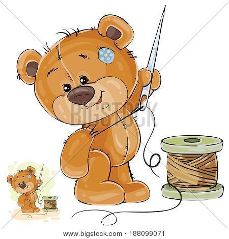 Vector illustration of a brown teddy bear tailor holding in his paw needle and thread, needlework. Print, template, design element