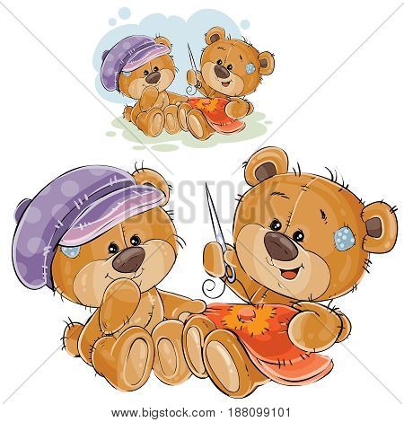 Vector illustration of two brown teddy bears embroider, needlework. Print, template, design element