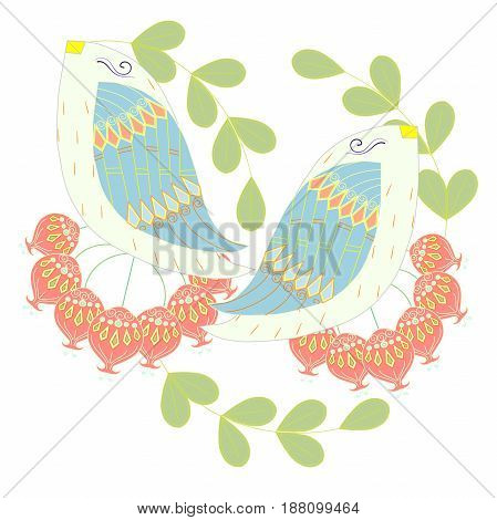 Colorful pair loving birds on white for print, for decorated, for wedding stock vector illustration