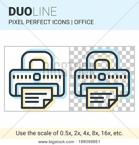 Pixel Perfect Duo Line Printer Icon On White And Transparent Background For Responsive Web Or Produc