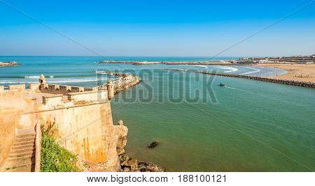 View from Kasbah of the Udayas at the river Bou Regrega and Atlantic ocean - Rabat - Morocco