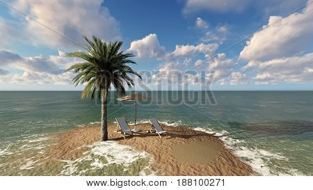 Two chairs under an umbrella at the beach by cloudy day - 3D render