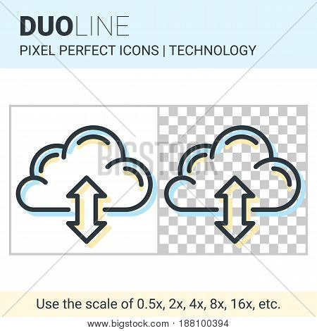 Pixel Perfect Duo Line Cloud Sync Icon On White And Transparent Background For Responsive Web Or Pro