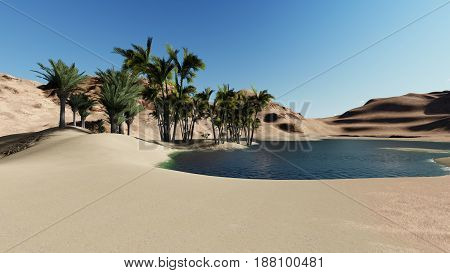 3d rendering - Oasis in the desert