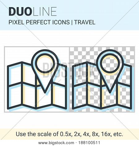Pixel Perfect Duo Line Map With Pin Icon On White And Transparent Background For Responsive Web Or P