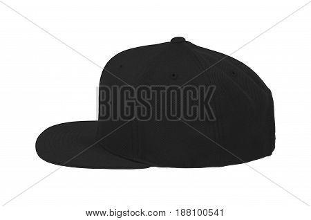 Blank flat snap back hat black side view on white background