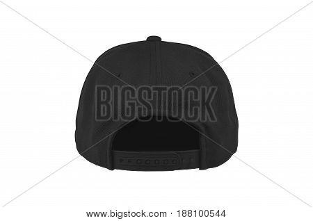 Blank flat snap back hat black back view on white background