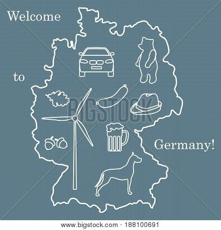 Vector Illustration With Various Symbols Of Germany. Travel And Leisure.