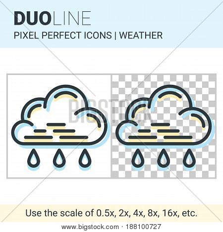 Pixel Perfect Duo Line Light Rain Icon On White And Transparent Background For Responsive Web Or Pro