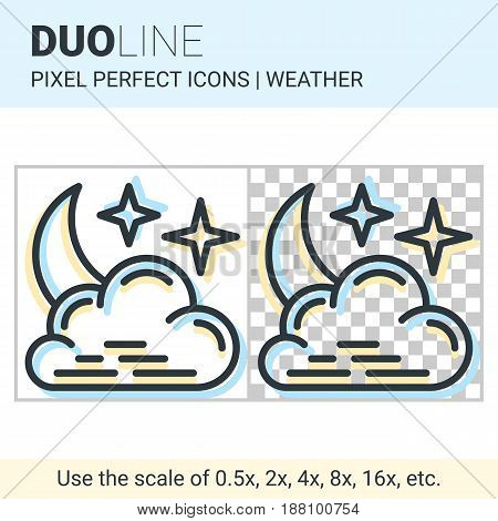 Pixel Perfect Duo Line Night Cloudy Icon On White And Transparent Background For Responsive Web Or P