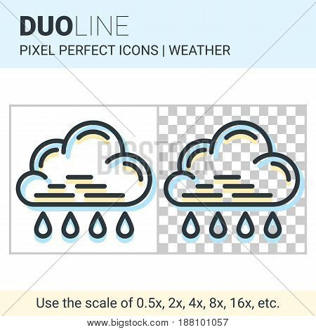 Pixel Perfect Duo Line Rain Icon On White And Transparent Background For Responsive Web Or Product D