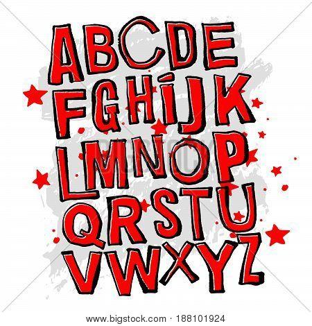 Alphabet Poster, Dry Brush Ink Artistic Modern Calligraphy Print.