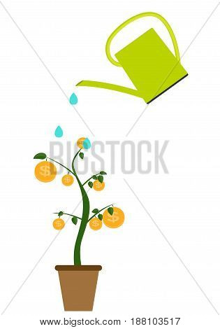 Colored Money Tree, Dependence of Financial Growth Flat Concept. Vector Illustration. EPS10