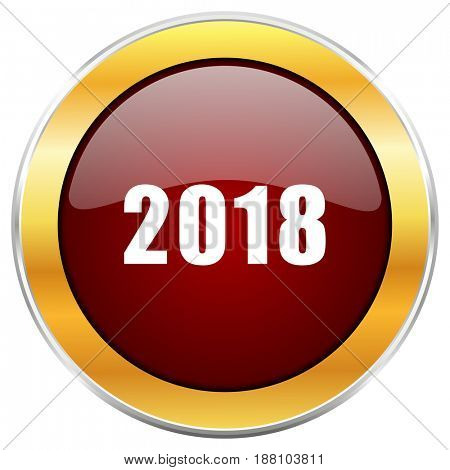 New year 2018 red web icon with golden border isolated on white background. Round glossy button.