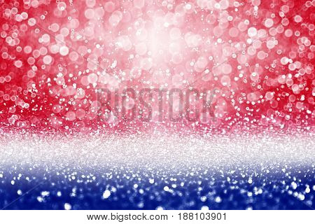 Abstract patriotic red white and blue glitter sparkle background for party invite July flyer, memorial design, election vote, freedom pattern, sale texture, labor day and independence celebration