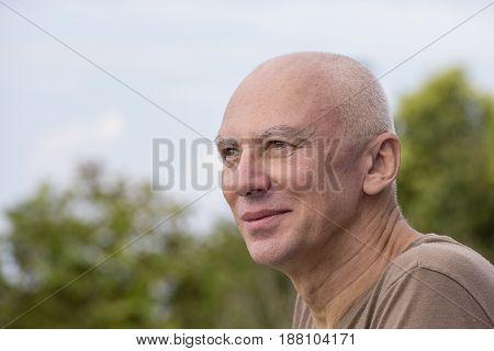 Seniors portrait happy old caucasian man. Close up