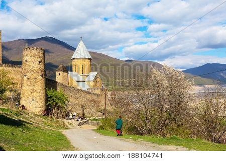Ananuri Georgia - April 26 2017: Ananuri castle complex on the Aragvi River in Georgia Europe.