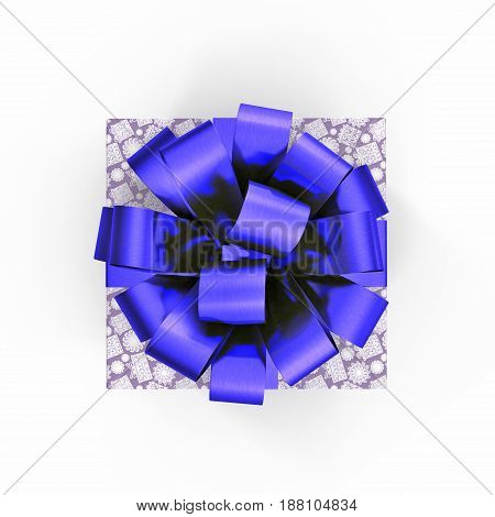 Blue gift box with ribbon on white background. Top view. 3D illustration
