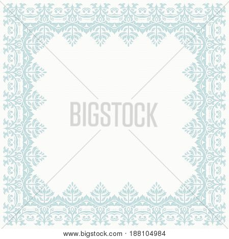 Classic light blue square frame with arabesques and orient elements. Abstract ornament with place for text, Vintage pattern
