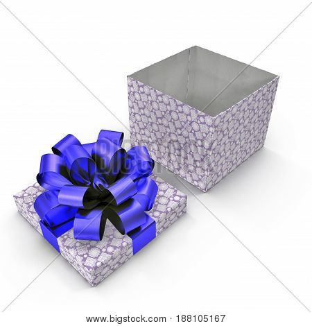 Empty Square blue giftbox on white background. 3D illustration