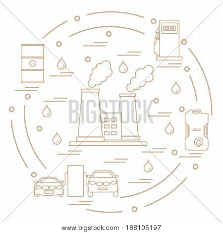 Cute Vector Illustration Of Refinery Plant With Smoking Chimneys, Canister Of Gasoline, Barrels With