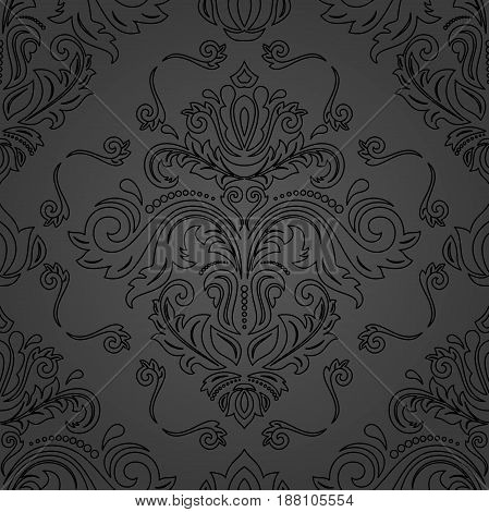Damask classic dark pattern. Seamless abstract background with repeating elements. Orient background with black outlines