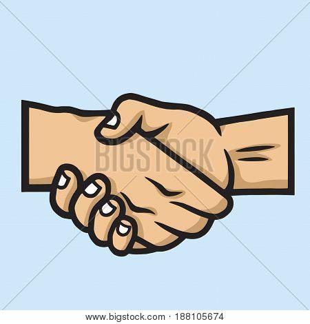 Business Handshake Contract Agreement. Vector Hand Drawn Illustration