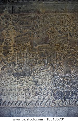 Relief carving in Angkor Wat Temple Cambodia.