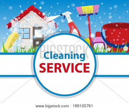 Poster clean house with tools for cleanliness and disinfection on a blue background. Banner for advertising service cleaning. Wash the home. Vector illustration.