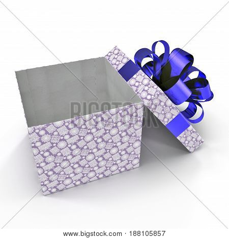 Present box with overwhelming bow on white background. 3D illustration