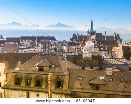 Skyline of Lausanne Switzerland with Saint-Francois Church. Lausanne, Vaud, Switzerland.