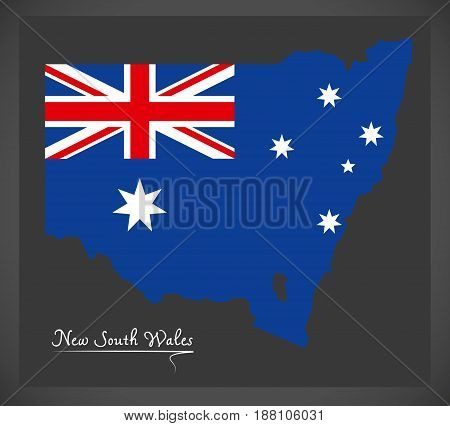New South Wales Map With Australian National Flag Illustration