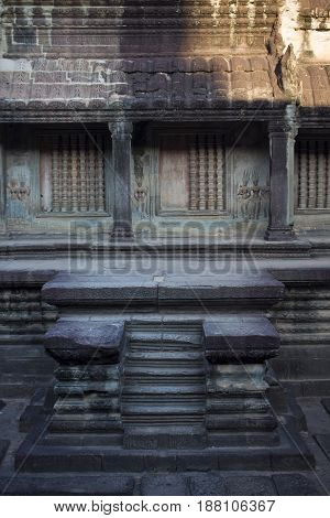 Steps into the purification pool of Angkor Wat Temple Cambodia.