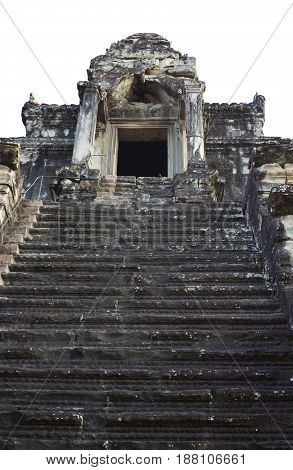 Steep steps leading up to Angkor Wat Temple towers in Cambodia.