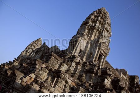 Two towers in Angkor Wat Temple, Cambodia.