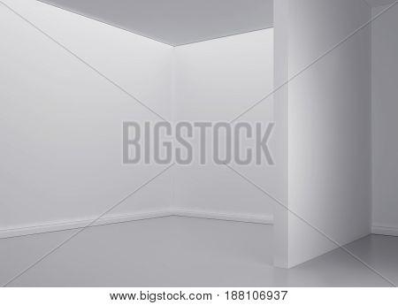 white light room with frame. 3d rendering