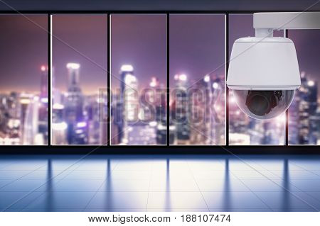 3d rendering security camera or cctv camera in office