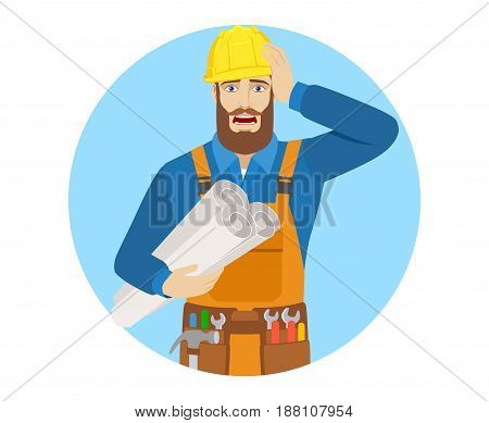 Worker holding the project plans and grabbed his head. Portrait of worker character in a flat style. Vector illustration.