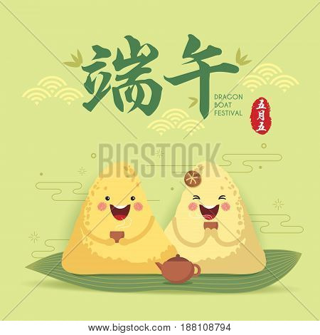 Cute cartoon chinese rice dumplings drinking tea. Dragon boat festival illustration. (caption: Dragon boat festival, 5th may chinese calendar)