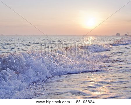 Black Sea Near Yevpatoriya In Crimea. Wave Of Water At Sunset