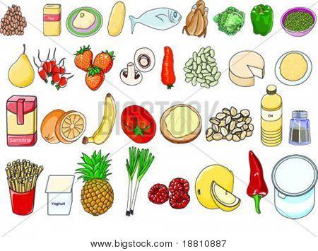 Set of healthy food