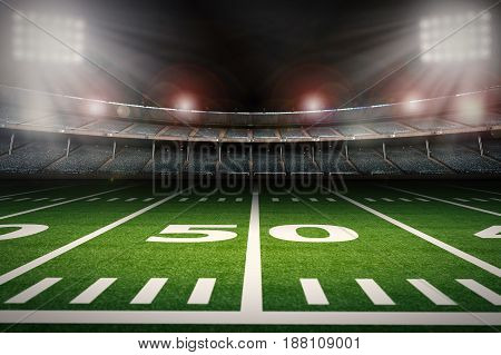 Empty American Football Stadium At Night