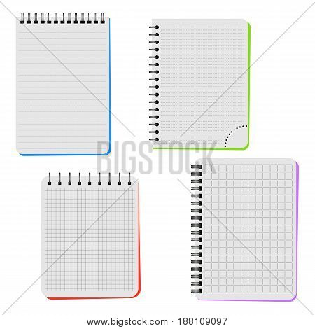 Four notebooks on a white background. Vector illustration.