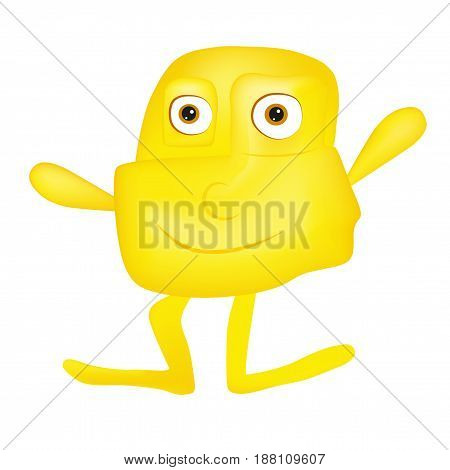 Yellow cute smiling monster - alien character