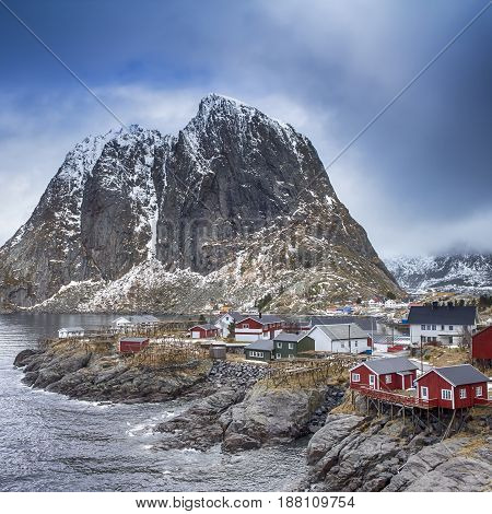 Travel concepts and Ideas. Picturesque Breathtaking View of Hamnoy Village at Lofoten Islands Shot from Upper Point. Square Image