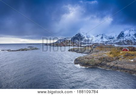 Travel concepts and Ideas. Picturesque Breathtaking View of Hamnoy Village at Lofoten Islands Shot from Upper Point. Horizontal Image composition