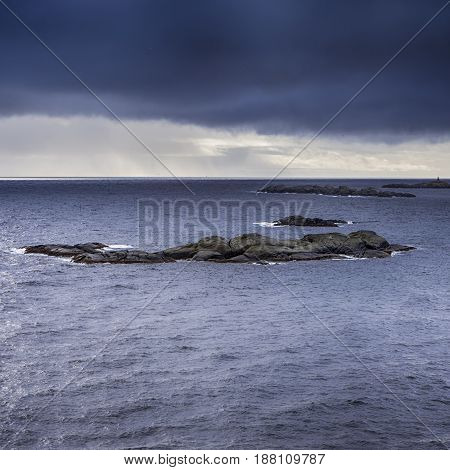 Travel concepts and Ideas. Picturesque Breathtaking View of Lofoten Islands. Square Image