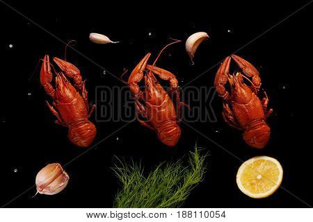 Boiled Crayfishes With Sea Salt, Garlic, Lemon And Dill
