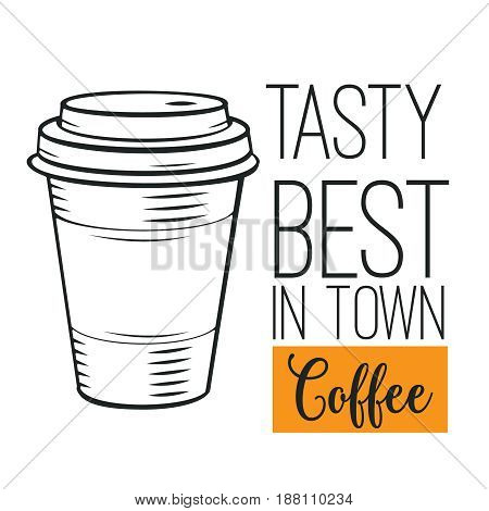 Hand drawn coffee icon. Vector badge fast food sketch style for brochures, banner, restaurant menu and cafe