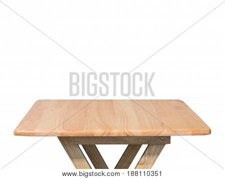 empty foldable wooden table isolated on white